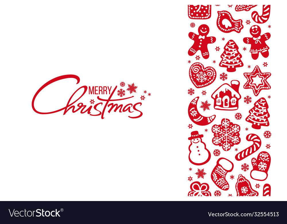 Merry christmas greeting card handwritten text and