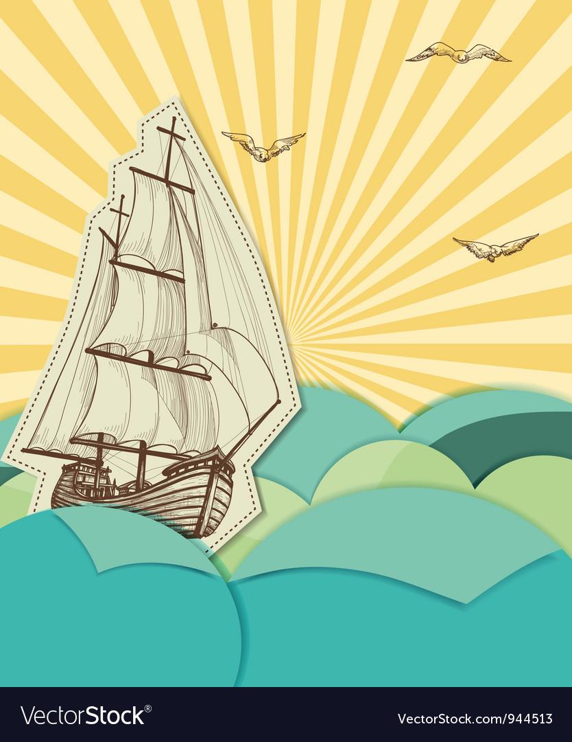 Retro sea background vector image