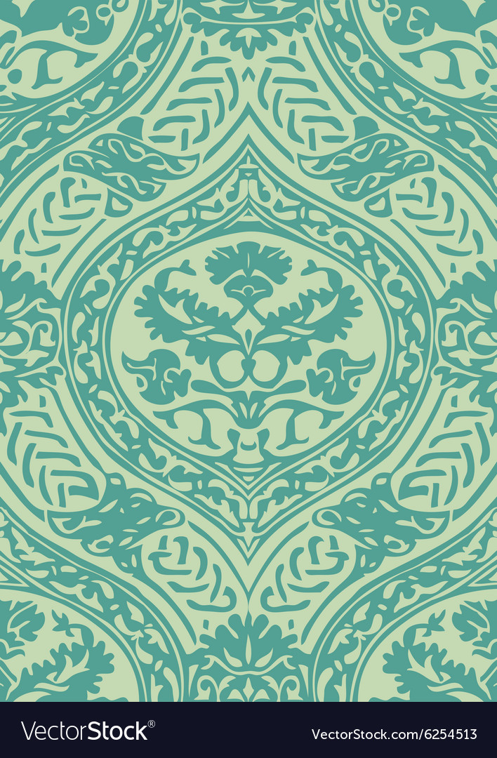 Seamless floral antique pattern blue light