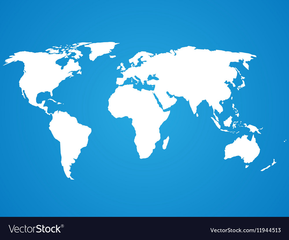 Simplified white world map silhouette on blue Vector Image