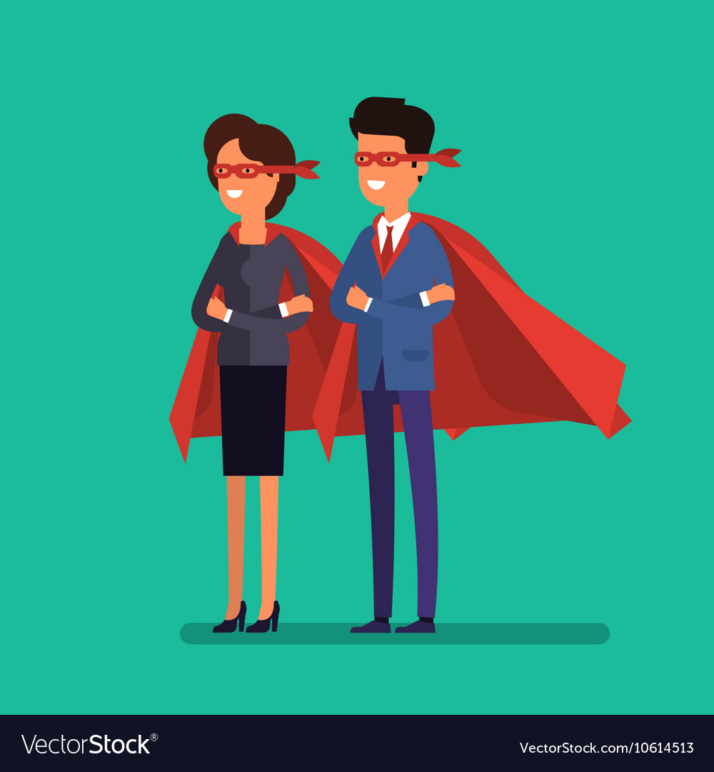 Super man and woman Business concept