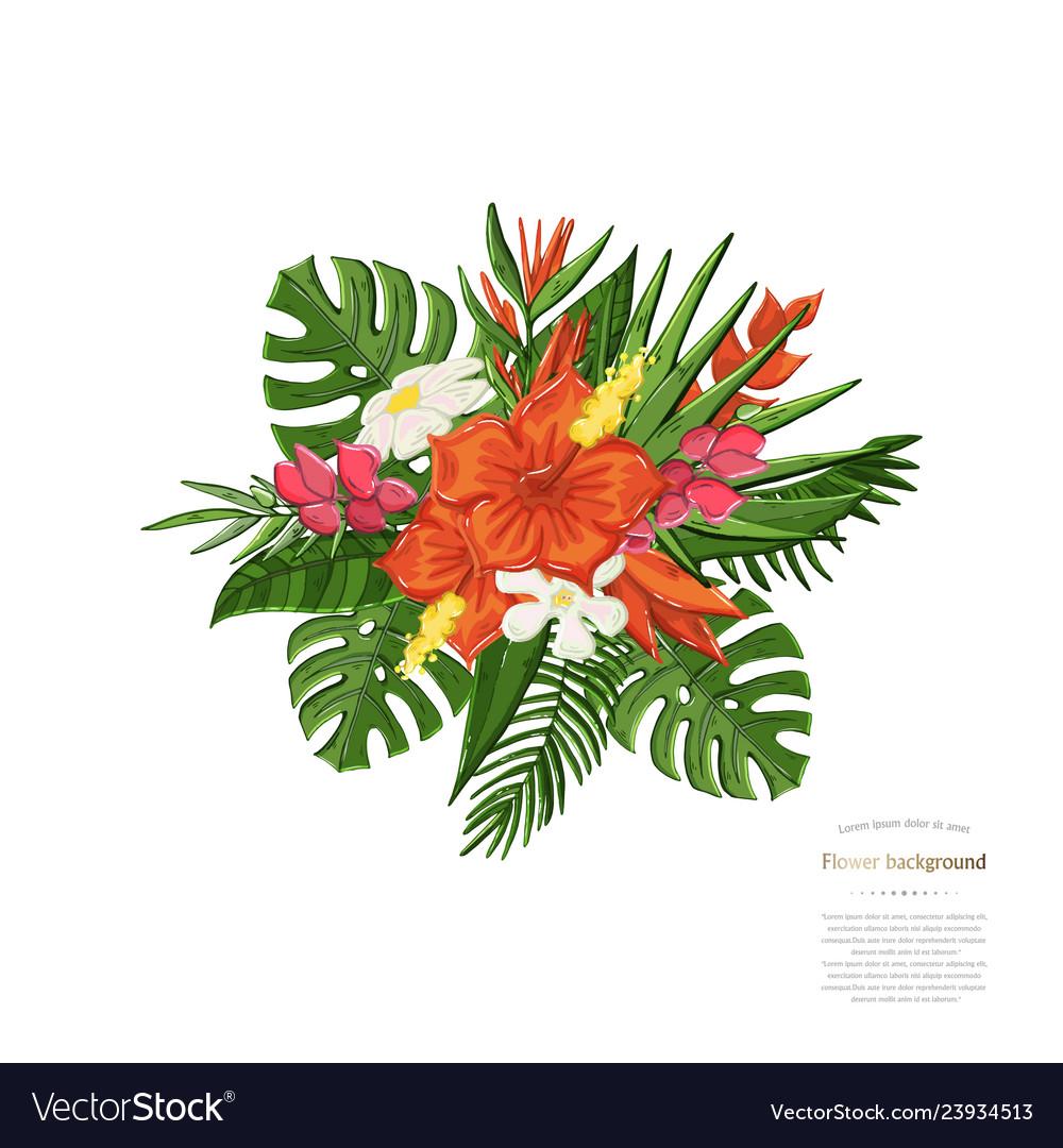 Tropical bouquet monstera leaf