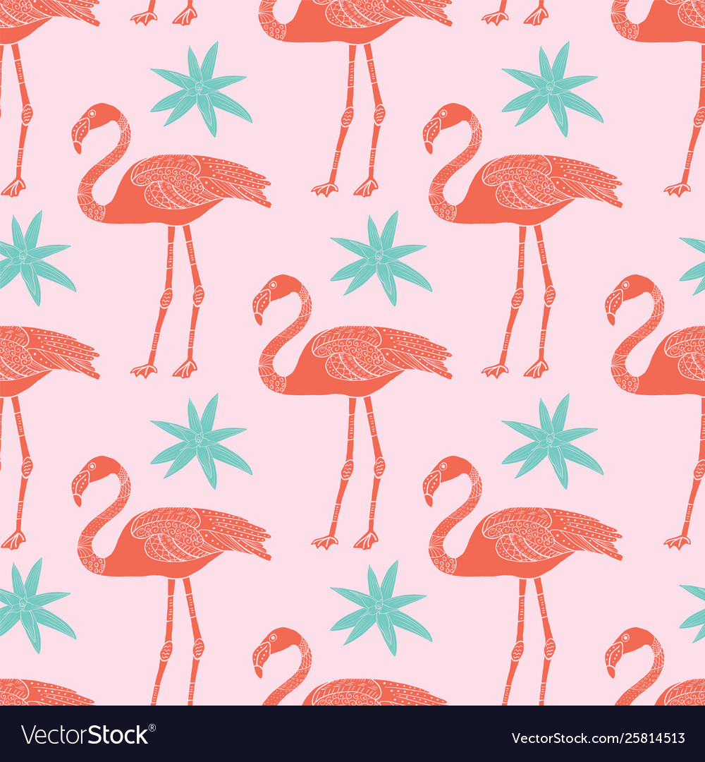 Tropical flamingos and flowers seamless