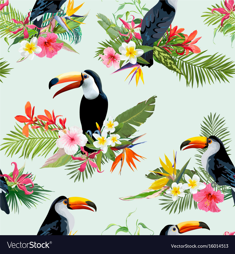 Tropical flowers and toucan seamless background