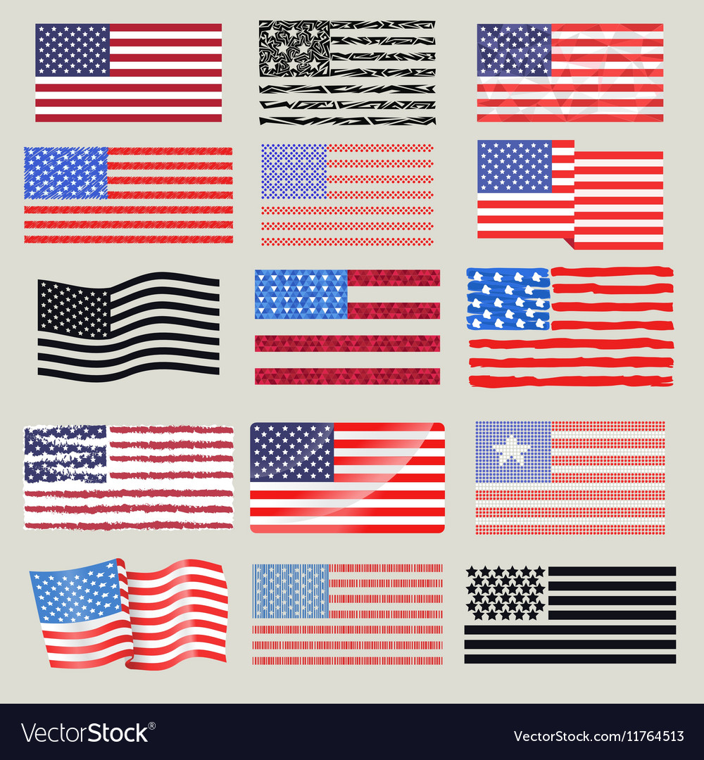 USA flags set