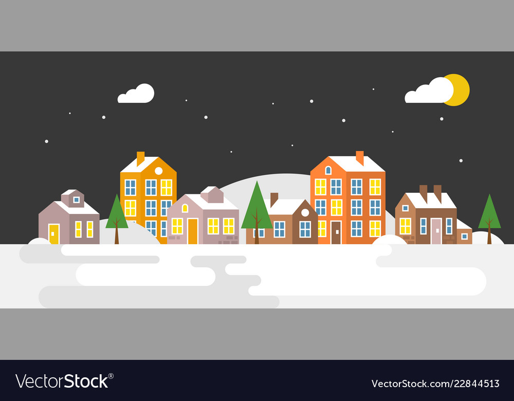 Village with snow falling urban landscape for use