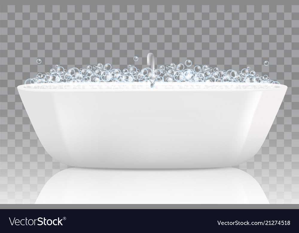 Bathtub with soap bubbles Royalty Free Vector Image