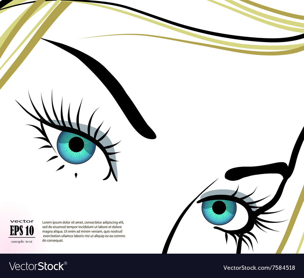 Beautiful blue eyes with long eyelashes vector image