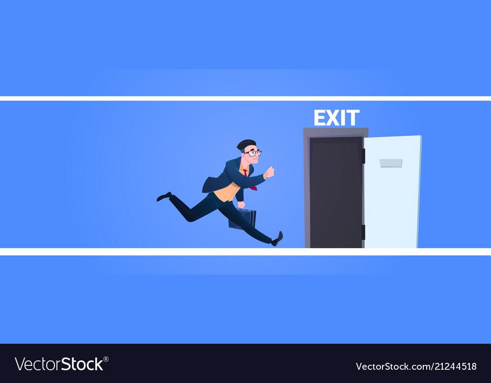 Businessman run to open exit door man running from