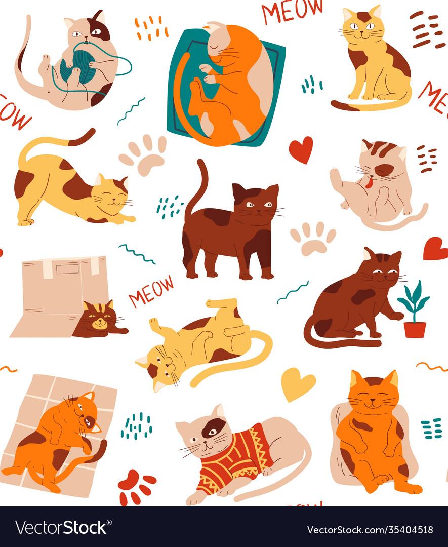 Cat pattern seamless texture kittens cartoon