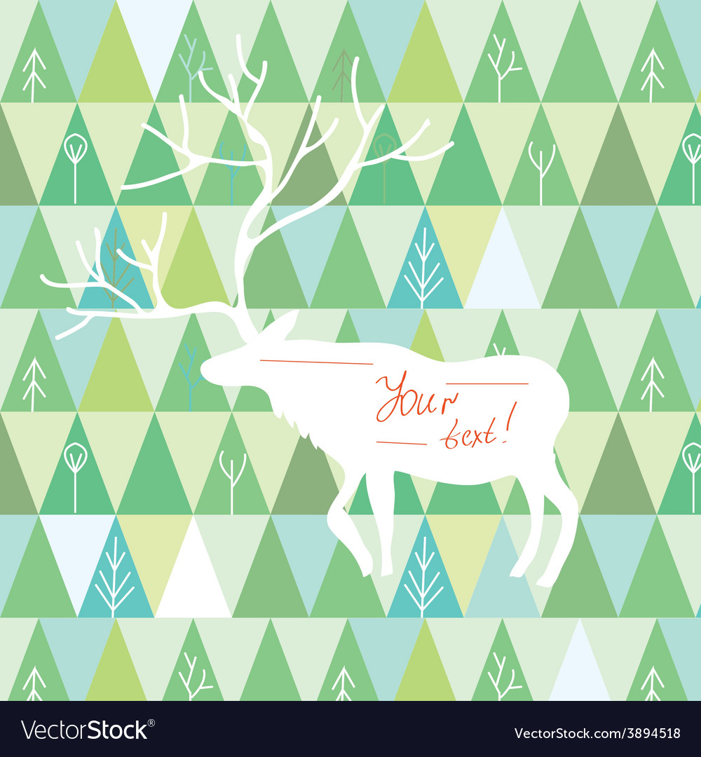 Christmas card with reindeer frame vector image