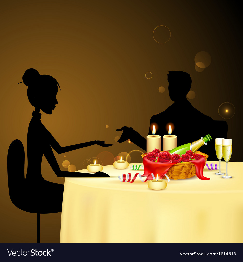 Couple taking Candle Light Dinner