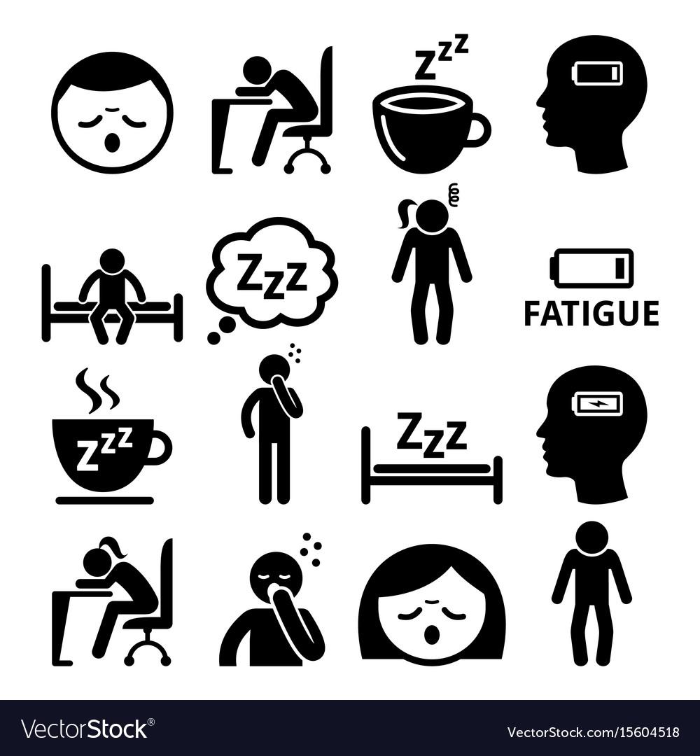 Fatigue icons tired sleepy man and woman