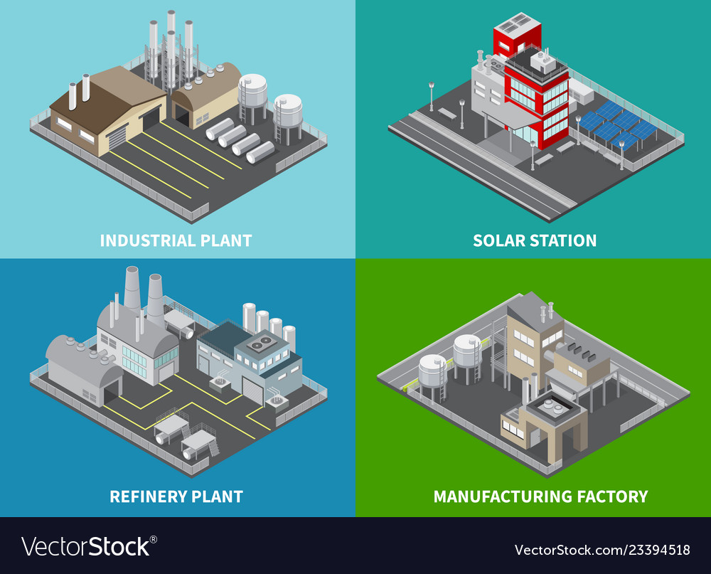 Industrial buildings concept icons set