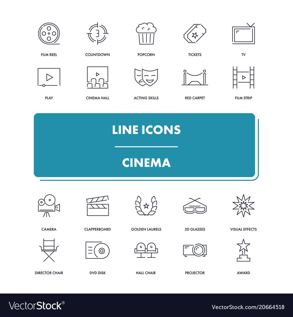 Line icons set cinema