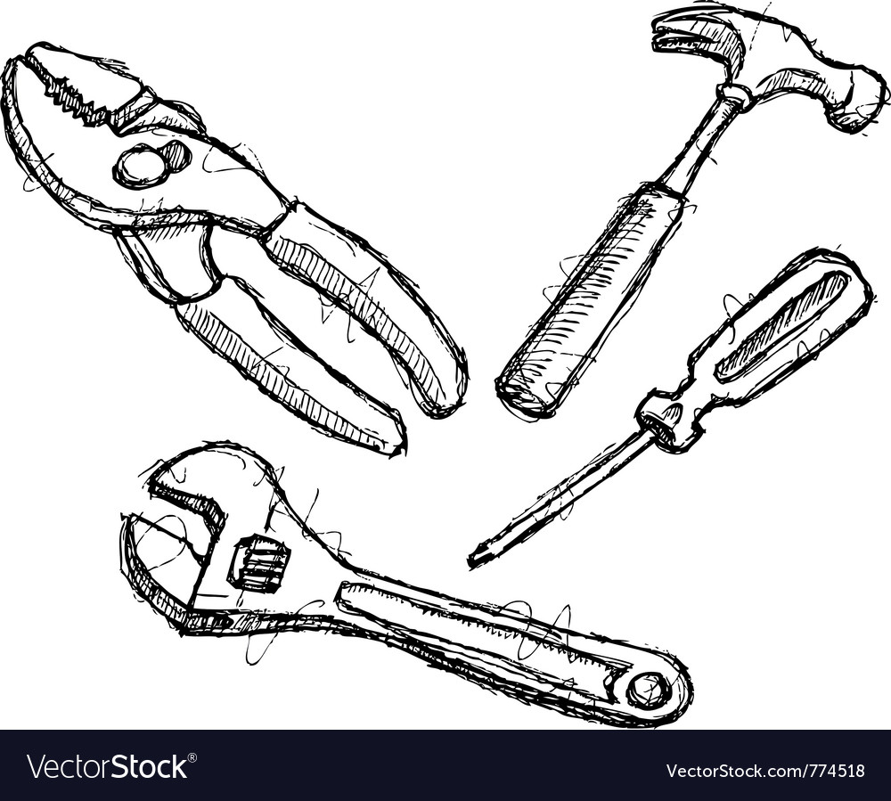 Scribble series - tools vector image