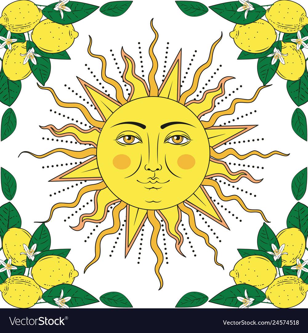 Tropical citrus lemon fruits with flowers frame