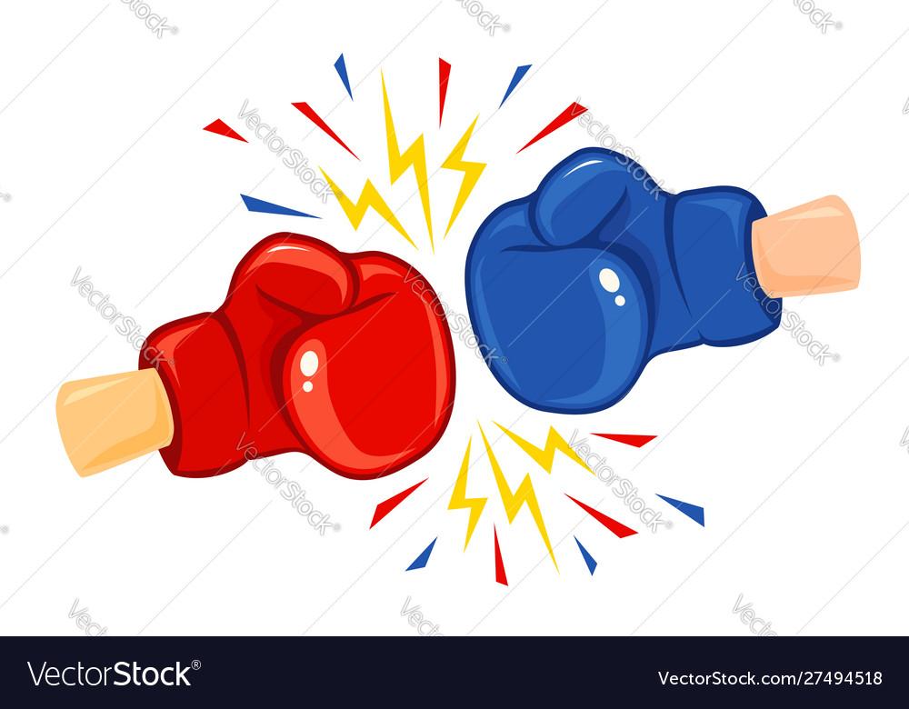 Vintage emblem two boxing gloves