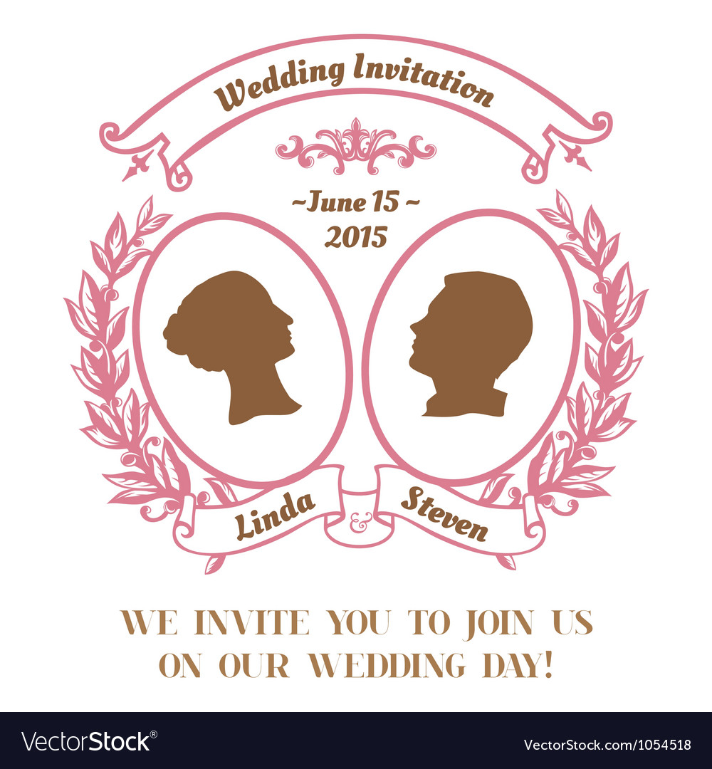 Wedding Vintage Invitation Card Royalty Free Vector Image