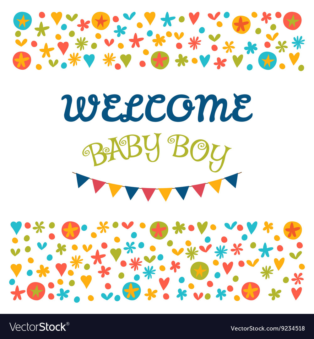 Welcome baby boy baby shower greeting card baby vector image m4hsunfo