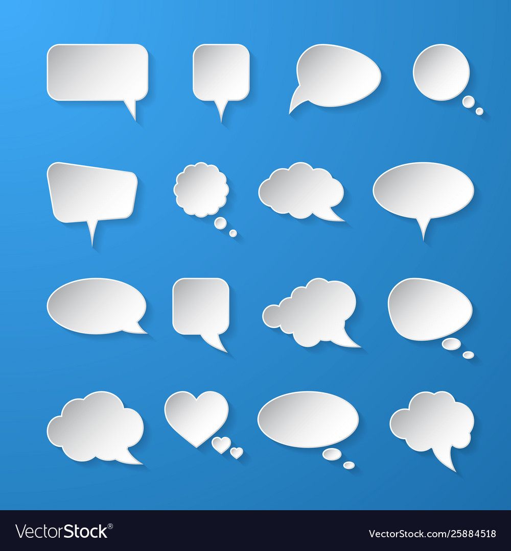 White paper speech bubbles on blue background