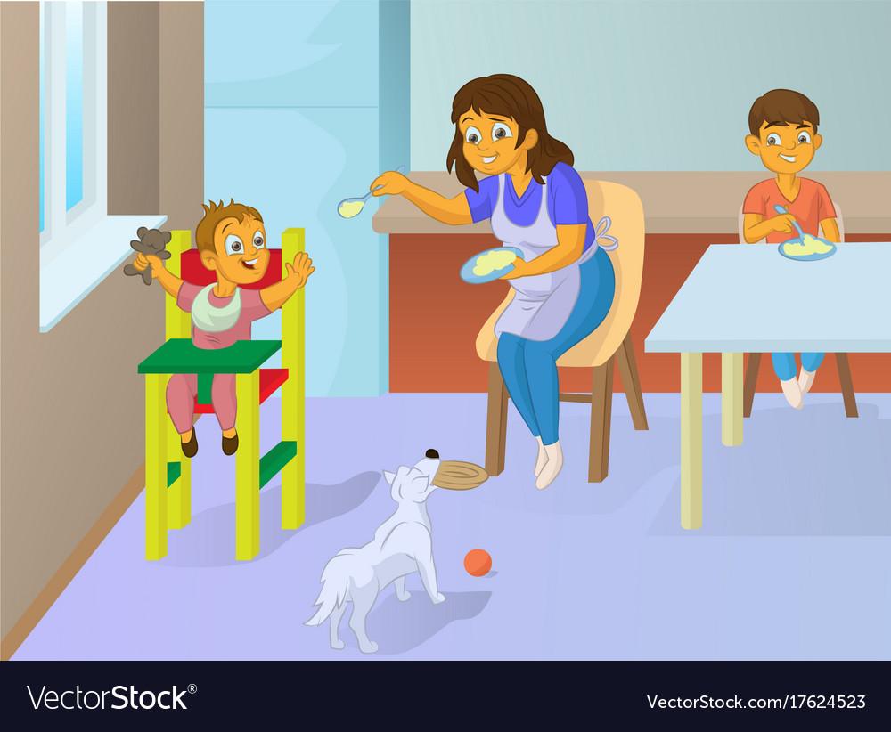 Babysitter feeding baby in the kitchen