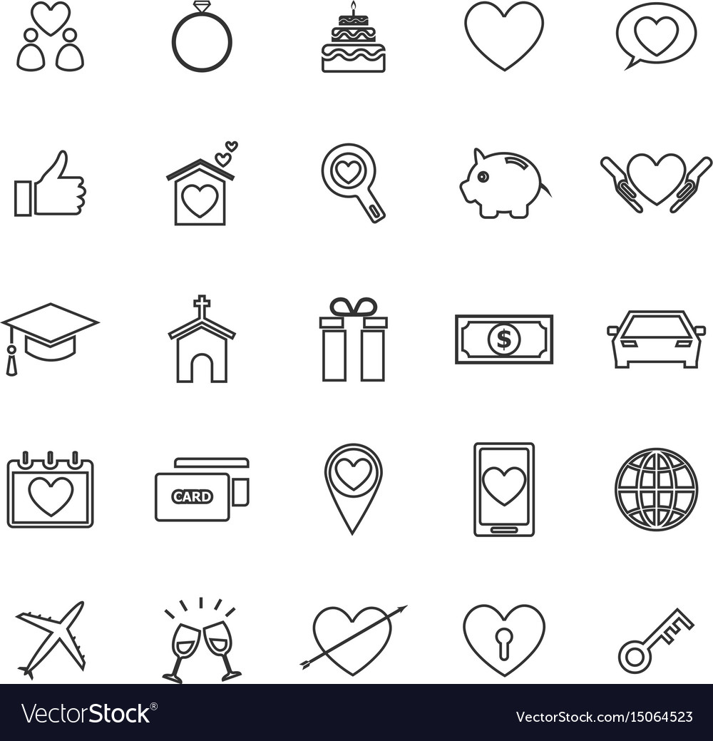 Family line icons on white background