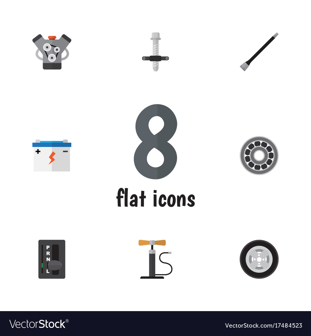 Flat icon auto set of wheel pump brake disk