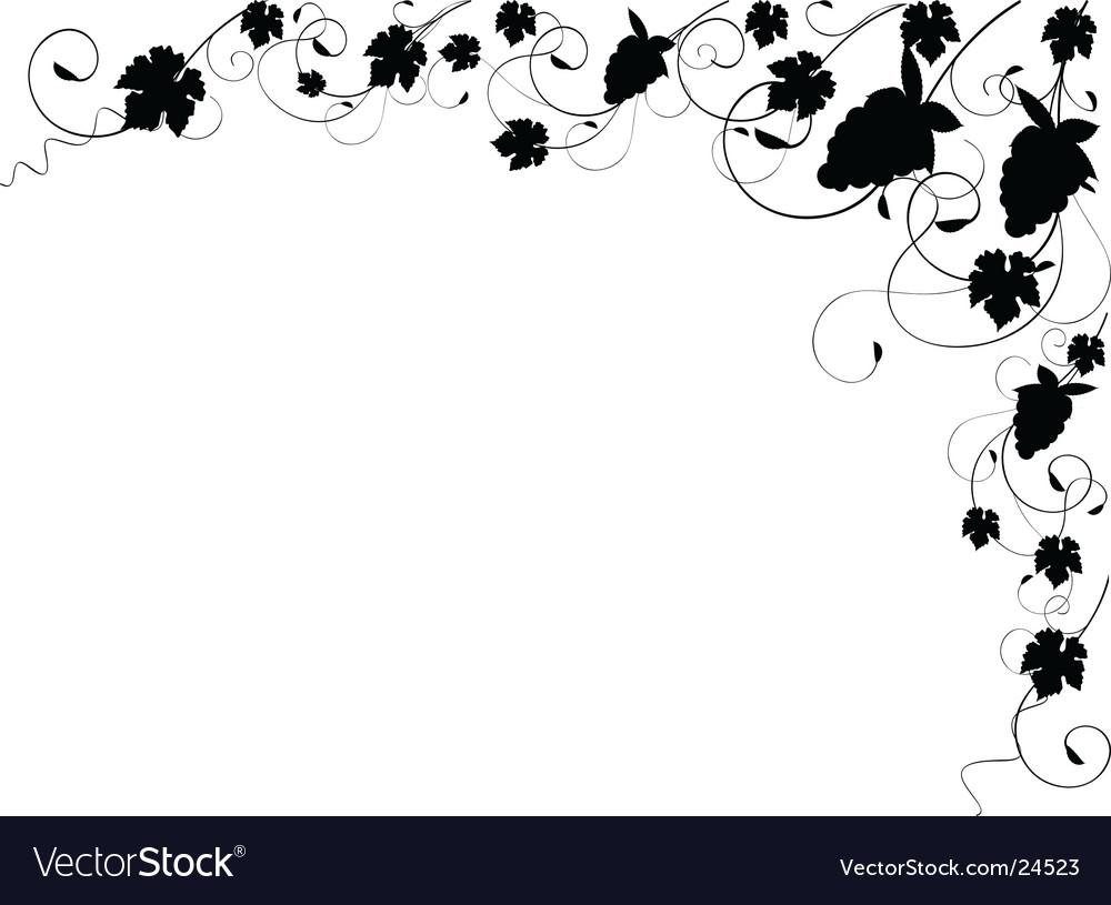 Grapevine silhouette border vector image
