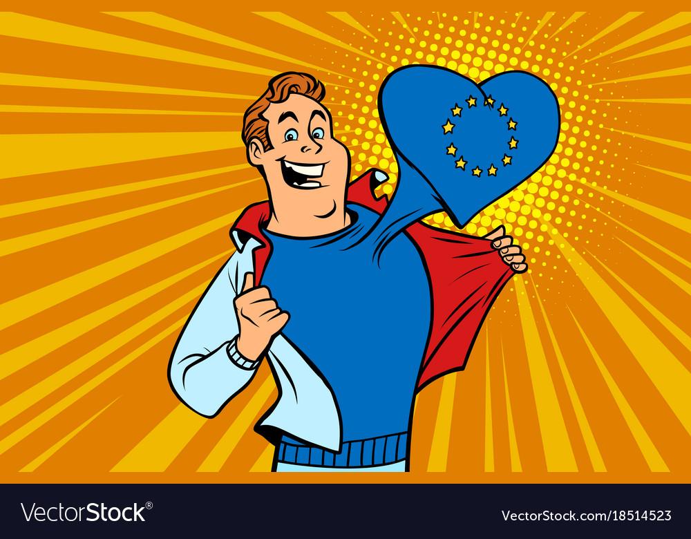 Happy man fan the european union heart vector image