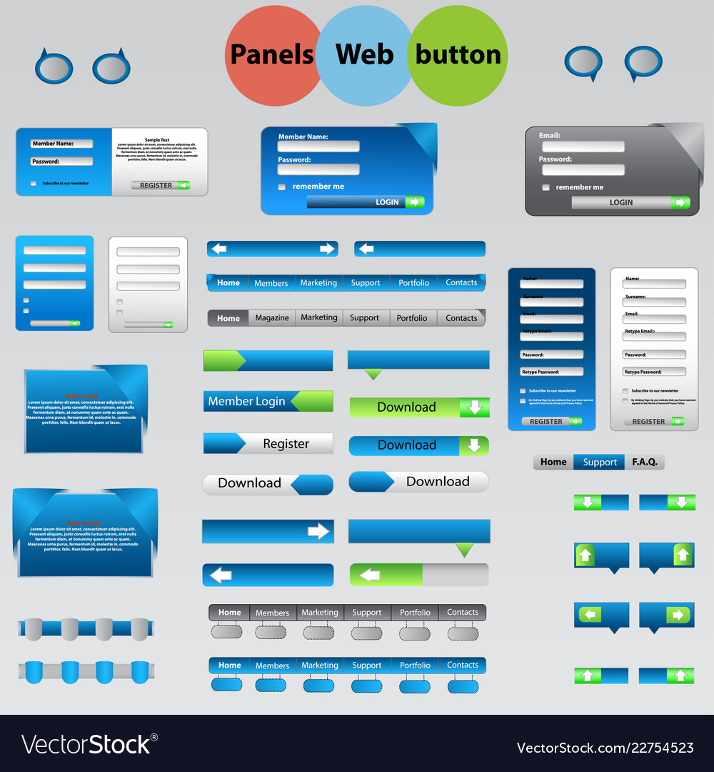 Large set web panels buttons for your ideas
