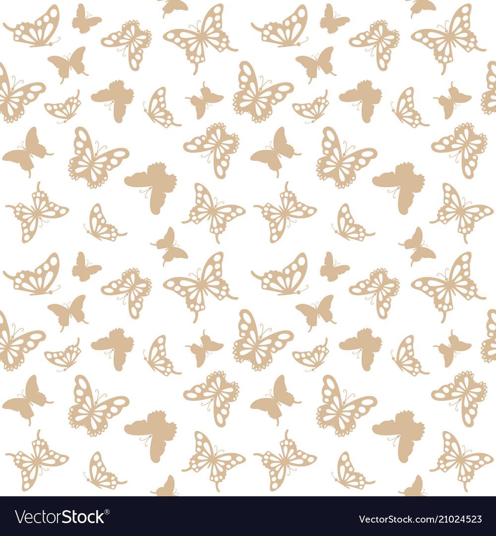 Luxury seamless pattern with golden butterflies