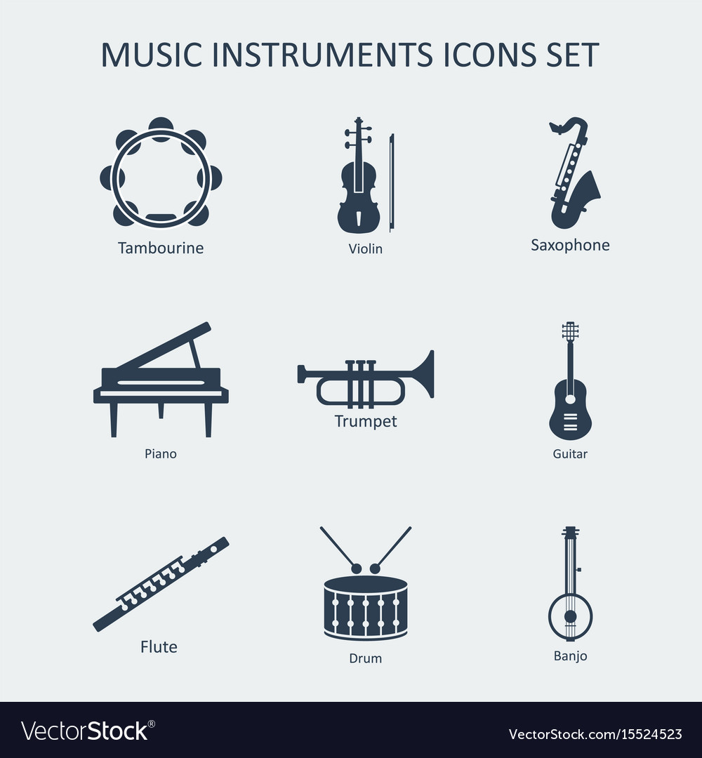 Music instruments icons set vector image