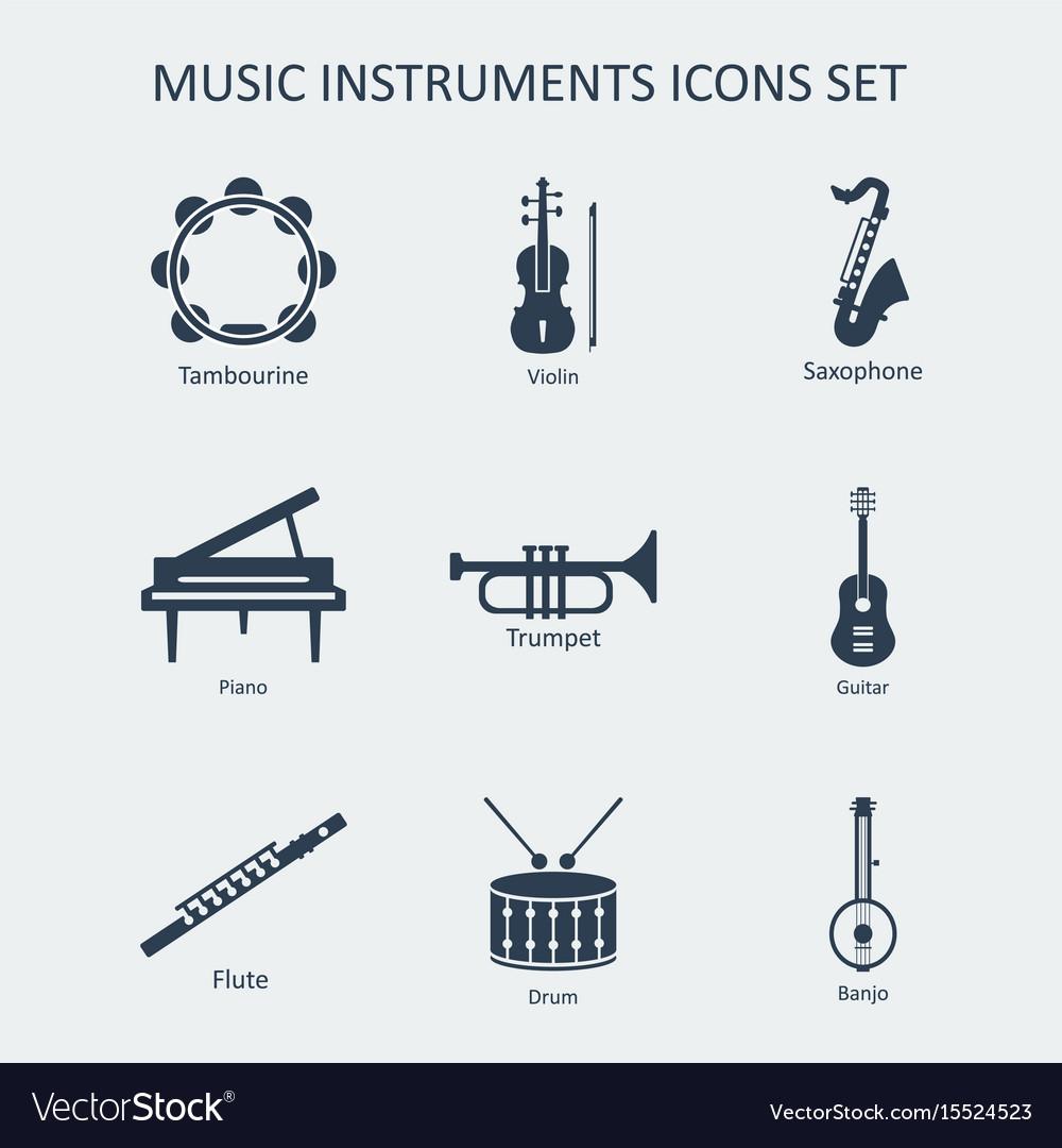Music instruments icons set