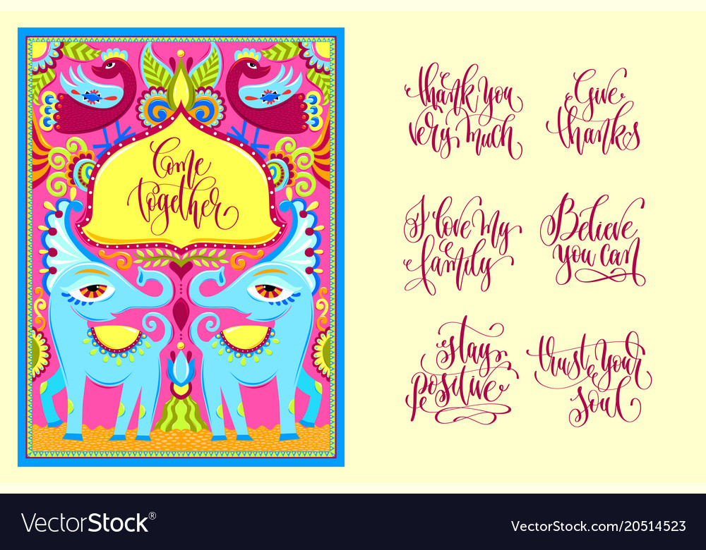 Postcard creator - indian frame with birds Vector Image