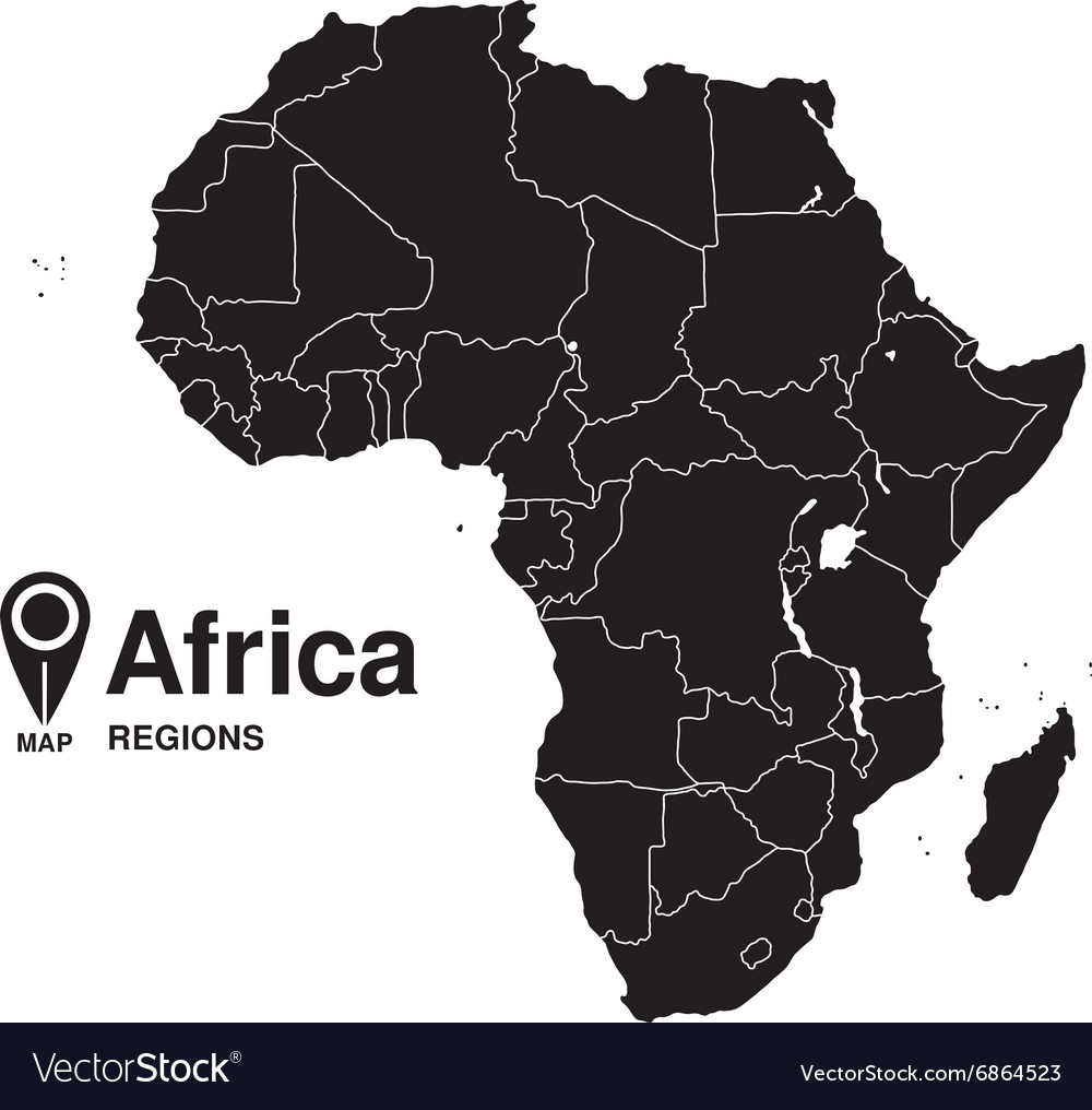 Map Of Africa Regions.Regions Map Of Africa Silhouette