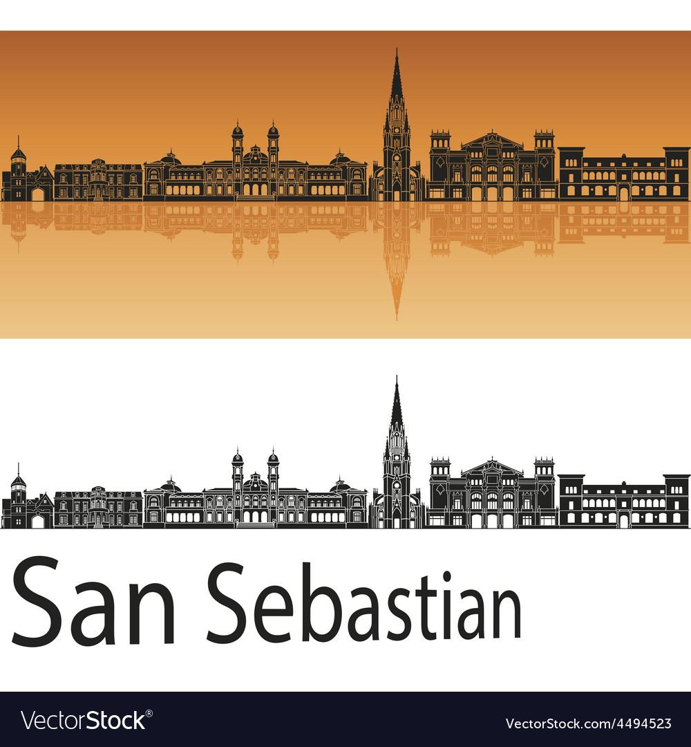 San Sebastian skyline in orange background in