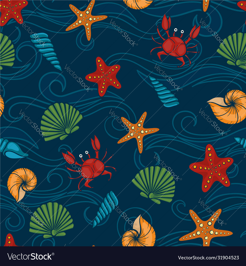 Seashell seamless pattern design for holiday kids