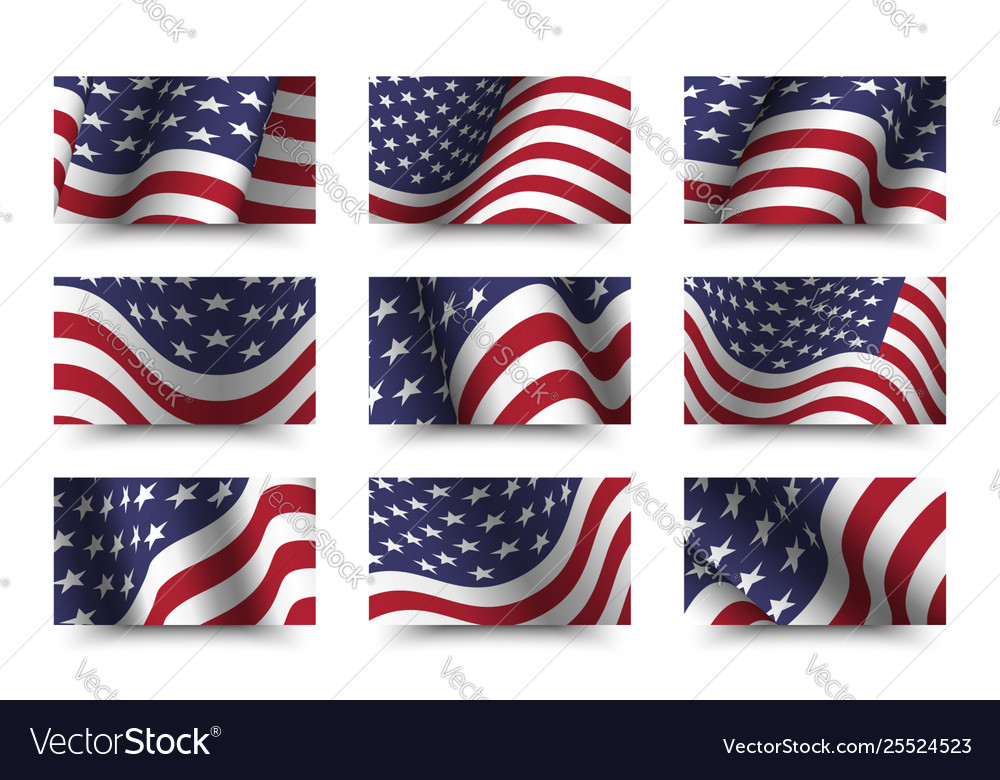 Set america flag background collection waving