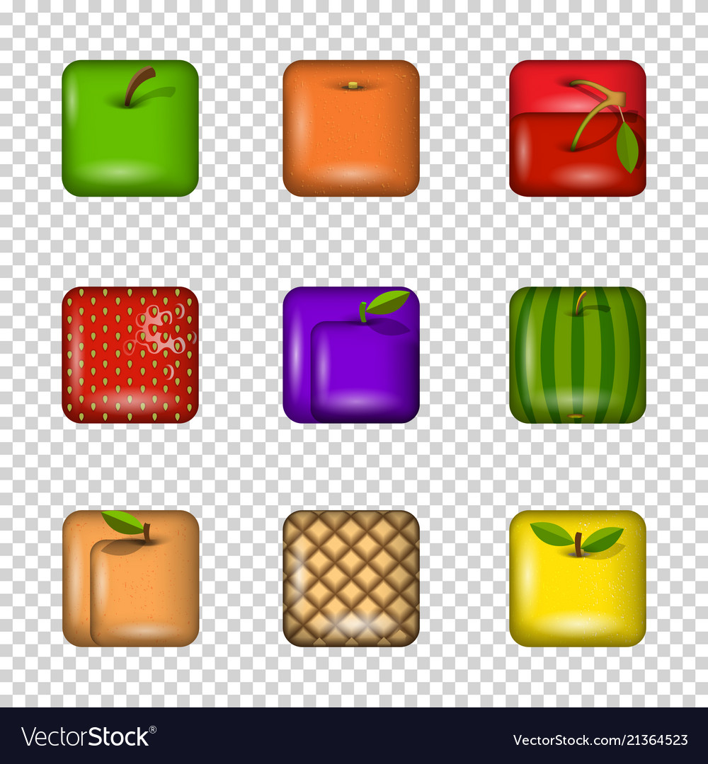 Set app icons-fruits on transparent background