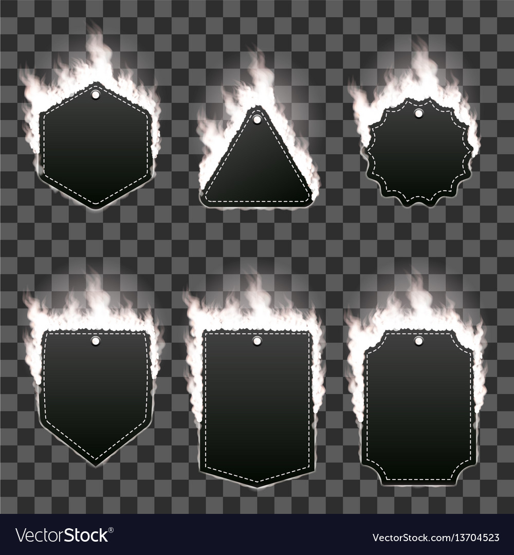 Set of six frames surrounded with white flame