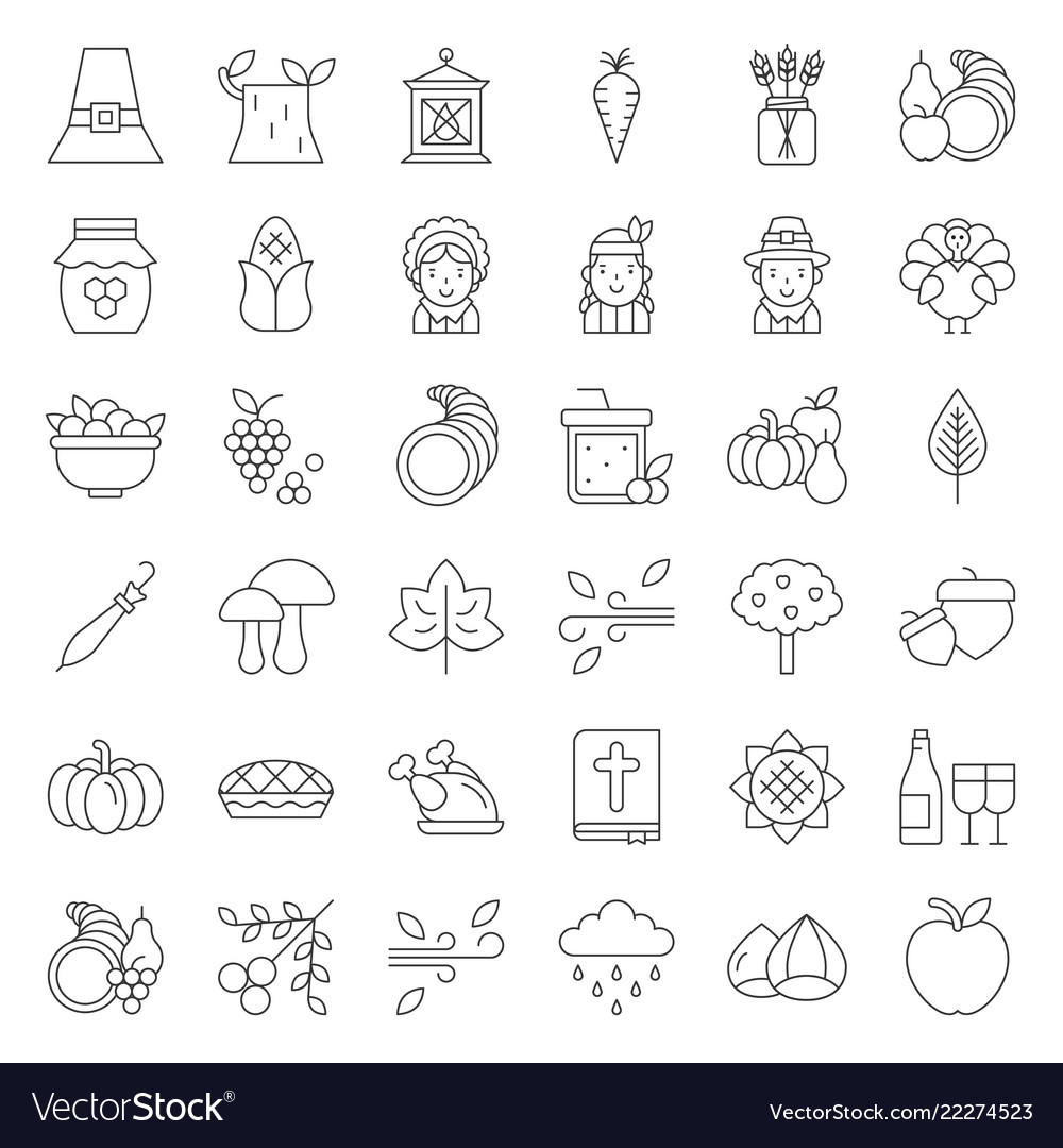 Thanksgiving icon big set editable stroke outline