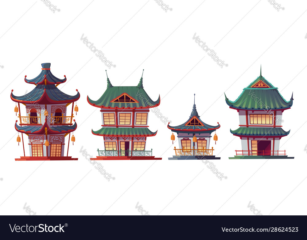 Traditional chinese house building cartoon