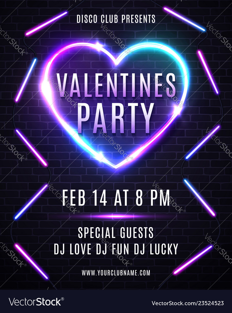 Valentines day party design for flyer or poster