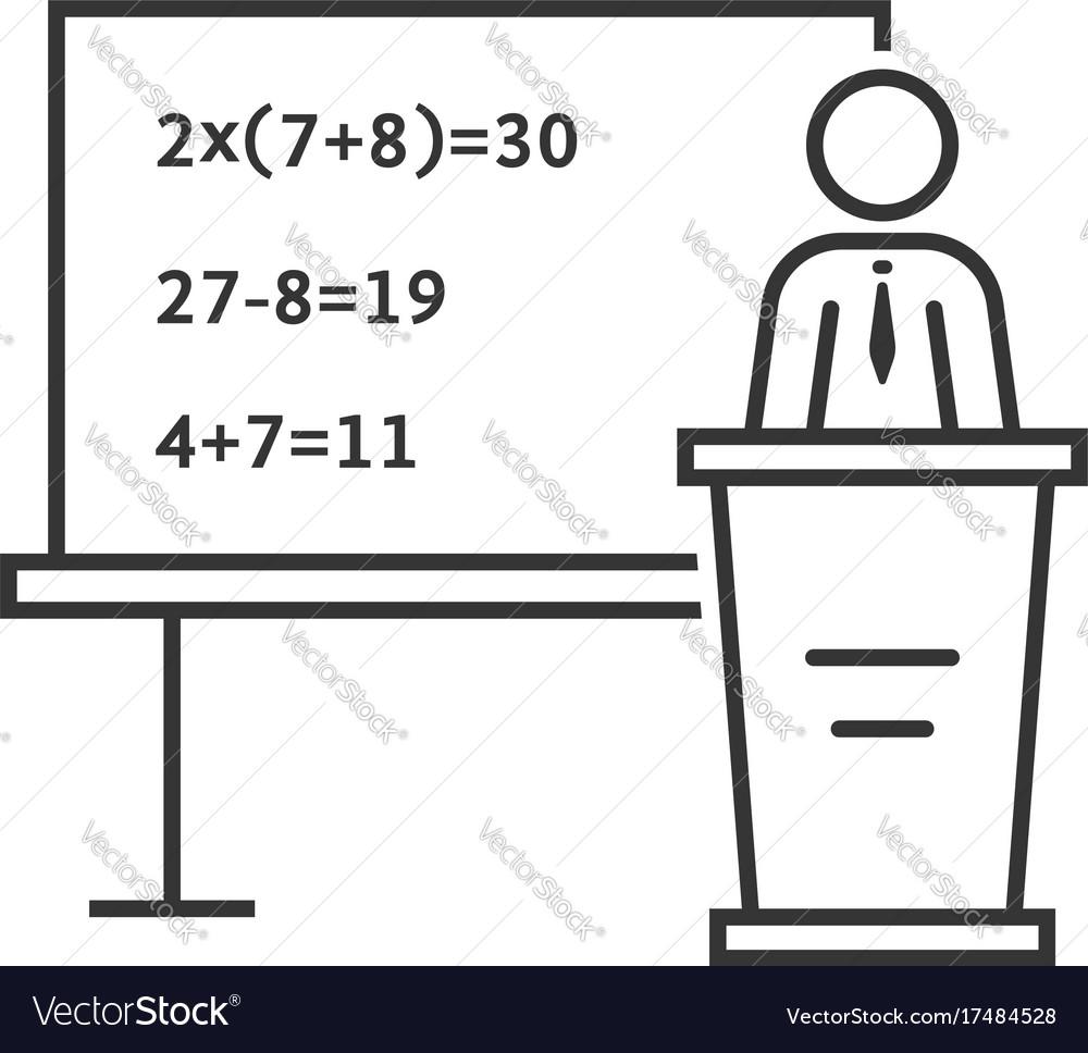 Black thin line mathematic teacher