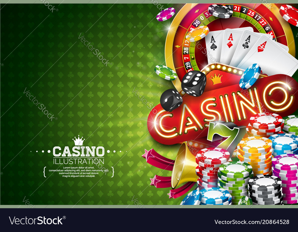 Casino with roulette wheel and
