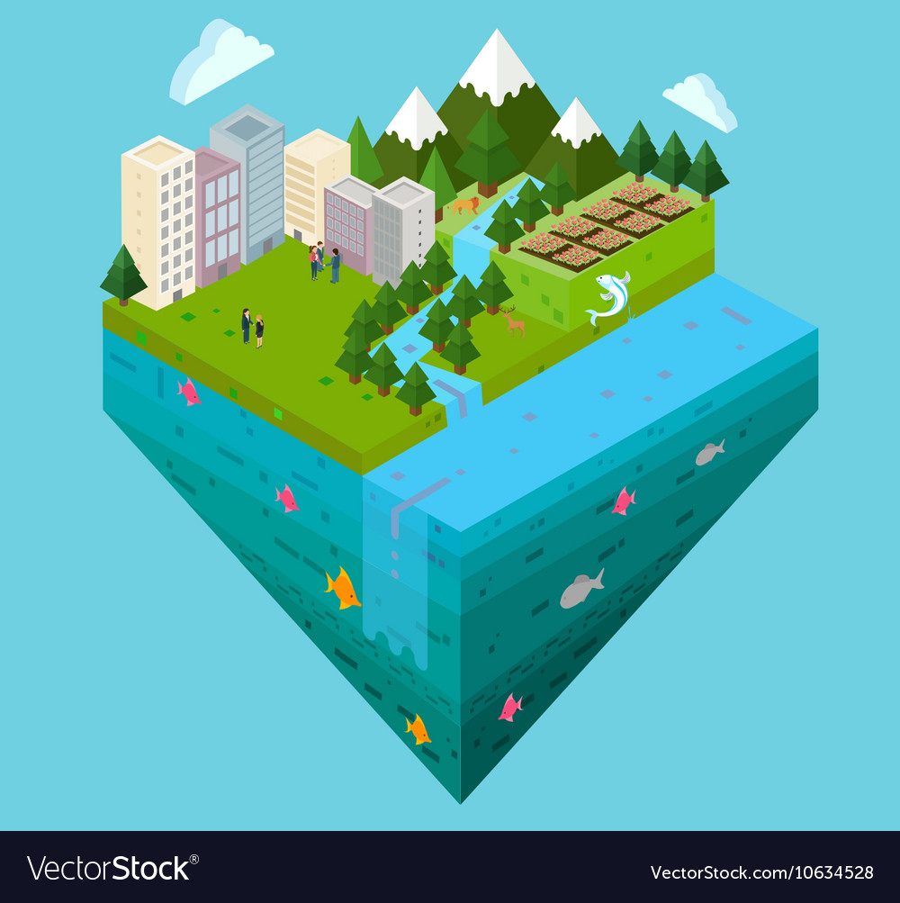 City landscape and water layer cross cut section