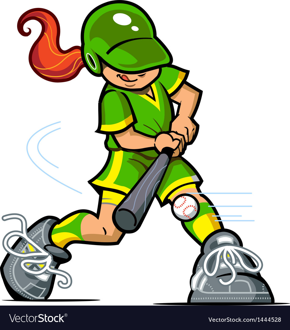 Girl Baseball Batter vector image