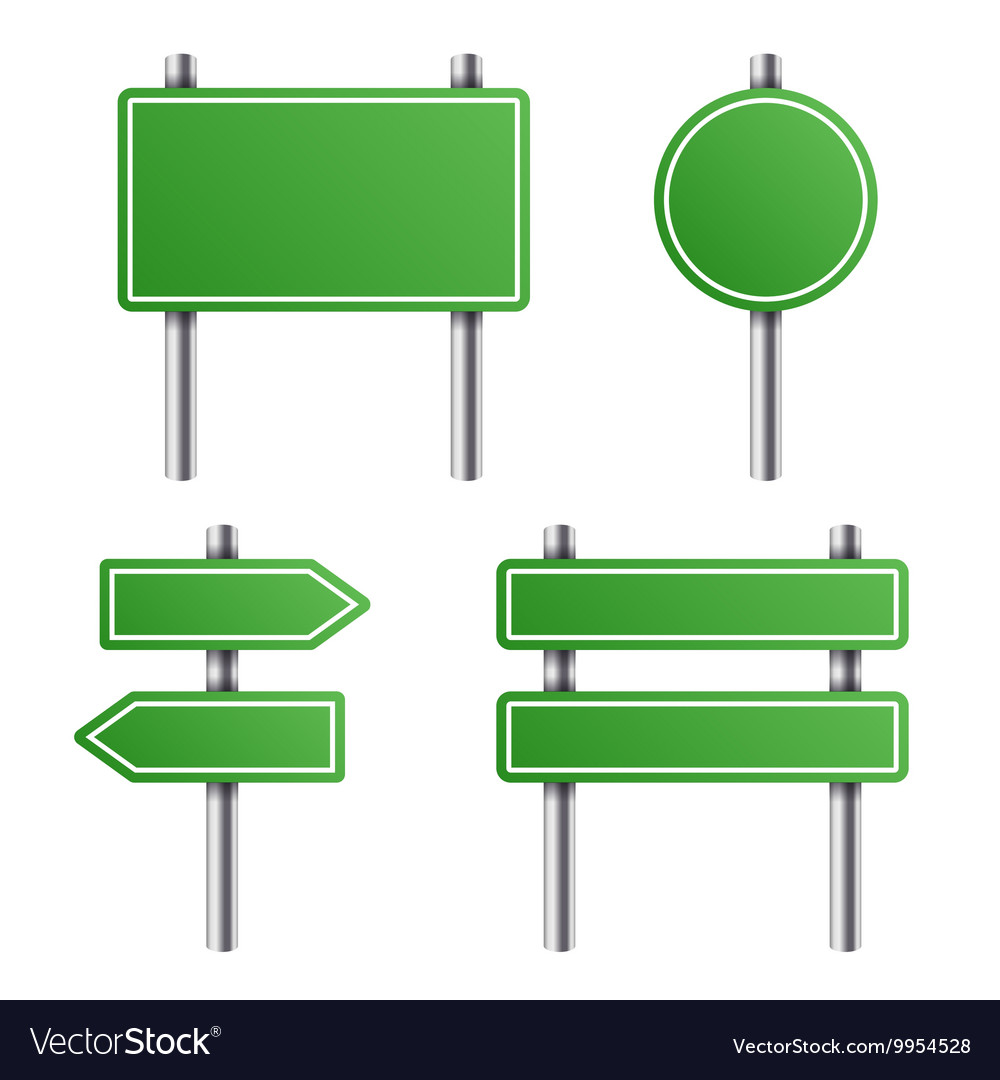 Green Road Sign Set on White Background vector image