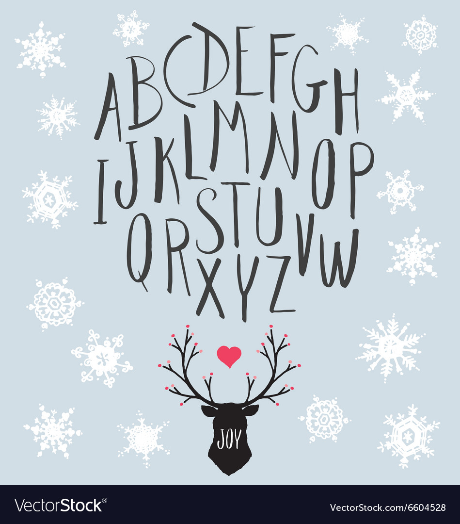 Hand Drawn Letters and Stag with Snowflakes Set